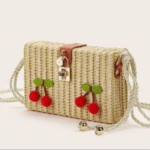 Handbags - Cherry Straw Braided Perfect Crossbody